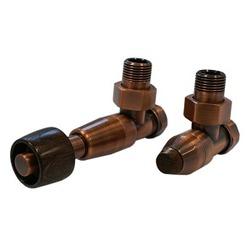 Комплект SCHLOSSER PRESTIGE, угловой античная медь, для стальных труб GW M22х1,5 х GW 1/2 (термостатическая головка с цилиндрической деревянной рукояткой), арт. 604500117