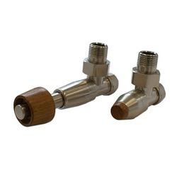 Комплект SCHLOSSER PRESTIGE, угловой сталь, для медных труб GW M22х1,5 х 15х1 (термостатическая головка с цилиндрической деревянной рукояткой), арт. 604500106