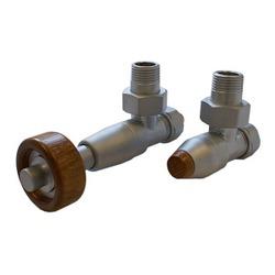 Комплект SCHLOSSER PRESTIGE, угловой сатин, для стальных труб GW M22х1,5 х GW 1/2 (термостатическая головка с круглой деревянной рукояткой), арт. 604500093