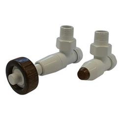 Комплект SCHLOSSER PRESTIGE, угловой белый, для медных труб GW M22х1,5 х 15х1 (термостатическая головка с круглой деревянной рукояткой), арт. 604500073