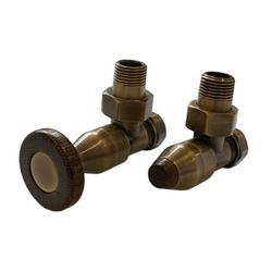 Комплект SCHLOSSER PRESTIGE, угловой античная латунь, для пластиковых труб GW M22х1,5 х 16х2 (круглая деревянная рукоятка), арт. 604500047