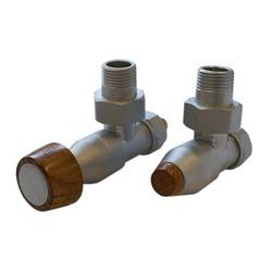 Комплект SCHLOSSER PRESTIGE, угловой сатин, для стальных труб GW M22х1,5 х GW 1/2 (цилиндрическая широкая рукоятка), арт. 604500027