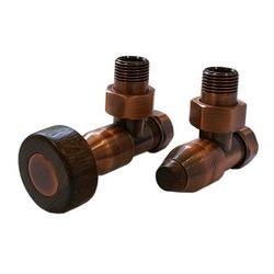 Комплект SCHLOSSER PRESTIGE, угловой античная медь, для пластиковых труб GW M22х1,5 х 16х2 (круглая деревянная рукоятка), арт. 604500038
