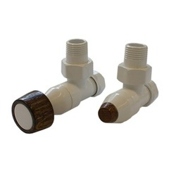 Комплект SCHLOSSER PRESTIGE, угловой белый, для стальных труб GW M22х1,5 х GW 1/2 (круглая деревянная рукоятка), арт. 604500003