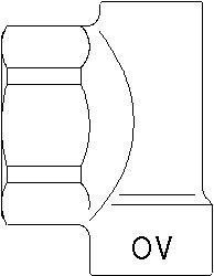 Концевая пробка для коллектора Oventrop 1, латунь, выход под воздухоотводчик 3/8 ВР, отвод на шаровой кран 1/2 ВР, артикул 1400691