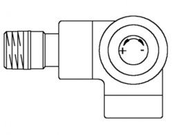 Вентиль (термостатический клапан) Oventrop серия E (эксклюзивная) угловой трехосевой Ду15 1/2, артикул 1163483, цвет матовая сталь - правое присоединение