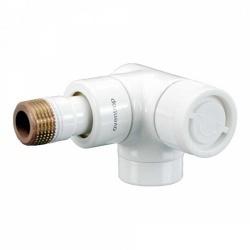 Вентиль (термостатический клапан) Oventrop серия E (эксклюзивная) угловой трехосевой Ду15 1/2, артикул 1163463, цвет белый - правое присоединение