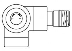 Вентиль (термостатический клапан) Oventrop серия E (эксклюзивная) угловой трехосевой Ду15 1/2, артикул 1163432, цвет антрацит (черный) - левое присоединение