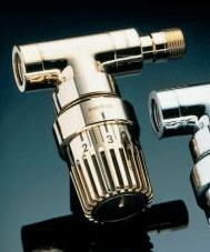 Вентиль (термостатический клапан) Oventrop серия E (эксклюзивная) угловой Ду15 1/2, артикул 1163072, цвет позолоченный
