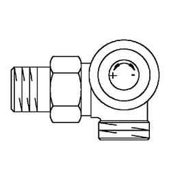 Вентиль (термостатический клапан) Oventrop AV6 с преднастройкой угловой трехосевой Ду15 3/4х1/2, артикул 1183497 (правое присоединение)