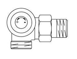 Вентиль (термостатический клапан) Oventrop AV6 с преднастройкой угловой трехосевой Ду15 3/4х1/2, артикул 1183496 (левое присоединение)