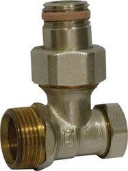 Запорный вентиль на обратку Oventrop Combi 2, угловой никелированный 3/4 х 1/2, артикул 1091072, резьбовое соединение с самоуплотнение