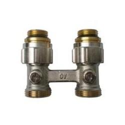 Узел нижнего подключения радиаторов Oventrop Multiflex F 1/2НРx3/4НР, из латуни, никелир., артикул 1015883, прямой